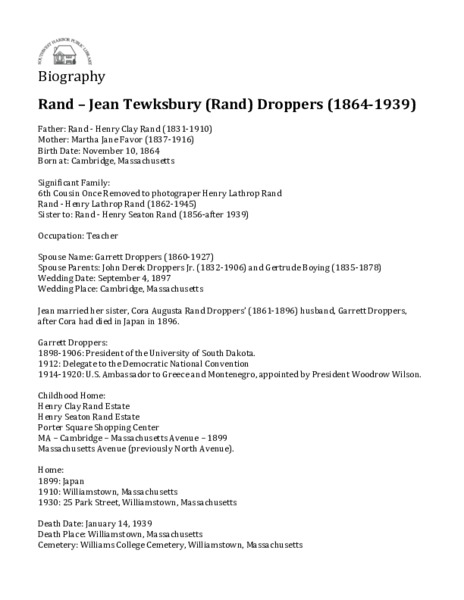 Rand - Jean Tewksbury (Rand) Droppers (1864-1939)